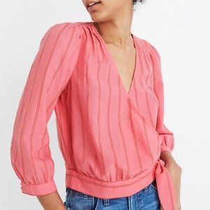 Madewell wrap top in Cecilia stripe